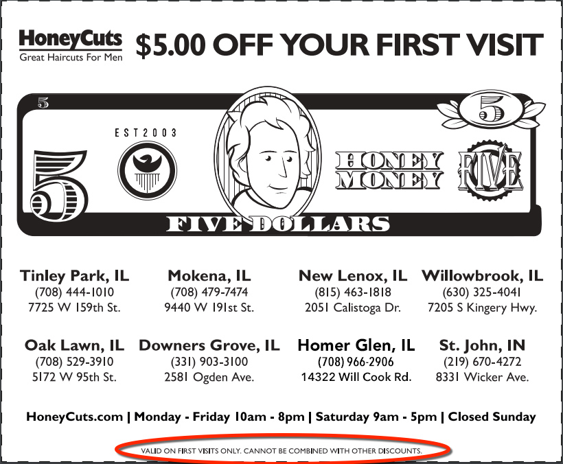 image of coupon to use when getting hair cut at good barber Homer Glen.